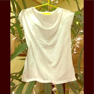 Cap sleeve white cotton T-shirt